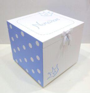 Ζωγραφιστό κουτί βάπτισης Κορώνα (γαλάζιο-λευκό)-VK095