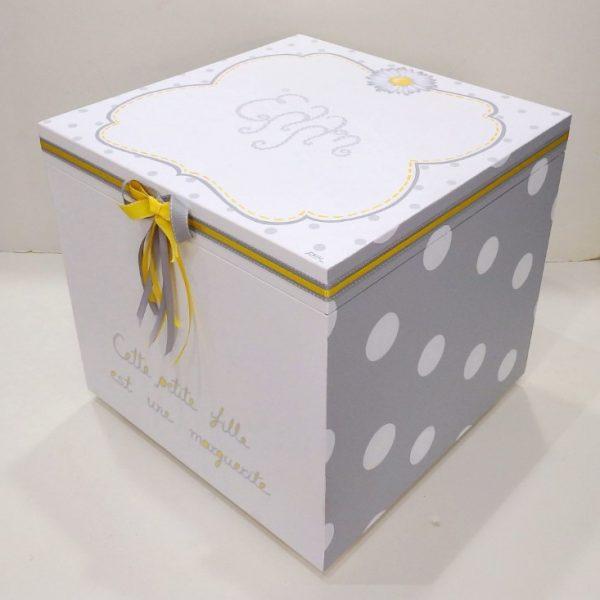 Χειροποίητο ζωγραφιστό κουτί βάπτισης Μαργαρίτα-VK096