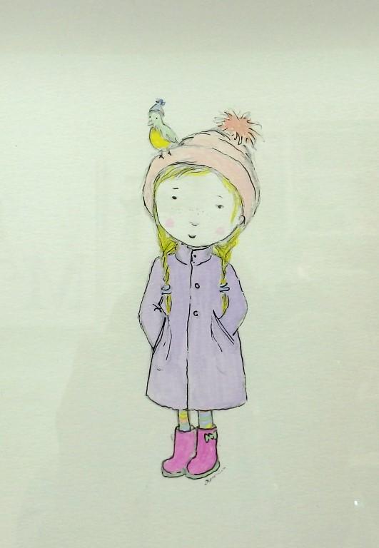 Παιδικό καδράκι κοριτσάκι και πουλάκι DPK102