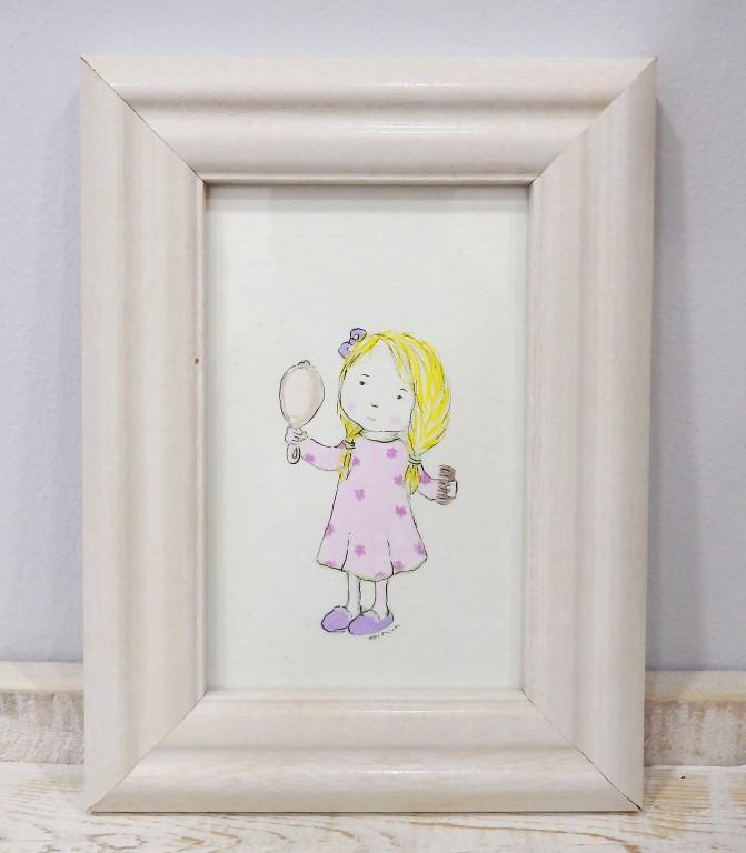Παιδικό καδράκι κοριτσάκι με πυτζαμούλες DPK100