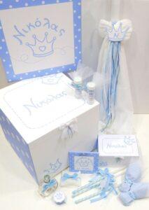 Σετ βάπτισης για αγόρι (λευκό-γαλάζιο) - VS097
