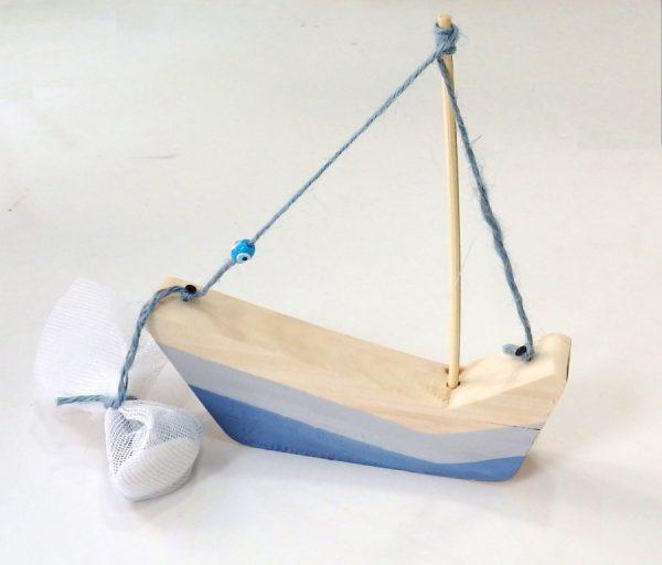 Μπομπονιέρα βάπτισης καραβάκι ξύλινο ζωγραφισμένο -PB063