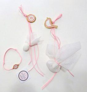 Κρεμαστή μπομπονιέρα βάπτισης Μάτι & Πουλάκι ροζ -KVB099