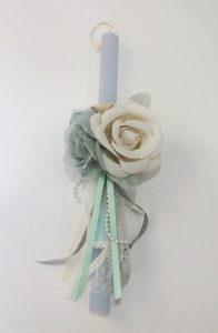 Πασχαλινή λαμπάδα vintage λουλούδια-PL054