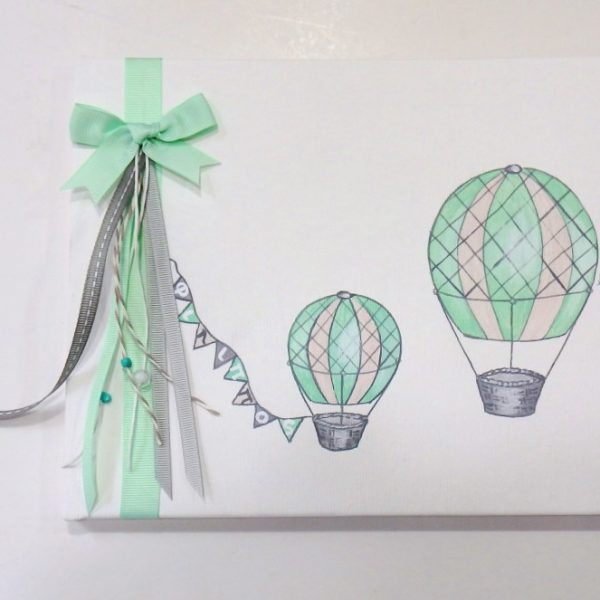 Βιβλίο ευχών Αερόστατα γκρι / μέντα - BE037