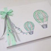 Βιβλίο ευχών Αερόστατα γκρι / μέντα  – BE037