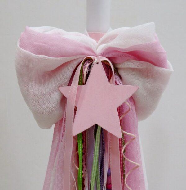Λαμπάδα βάπτισης Αστέρι σε ροζ-φουξ χρώματα VL004-83