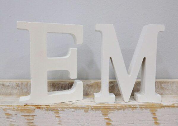 Ξύλινα γράμματα 12 εκ. Λευκά -ZG078