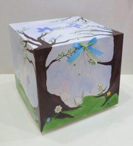 Ζωγραφισμένο κουτί βάπτισης κουνελάκι στο δάσος - VK101