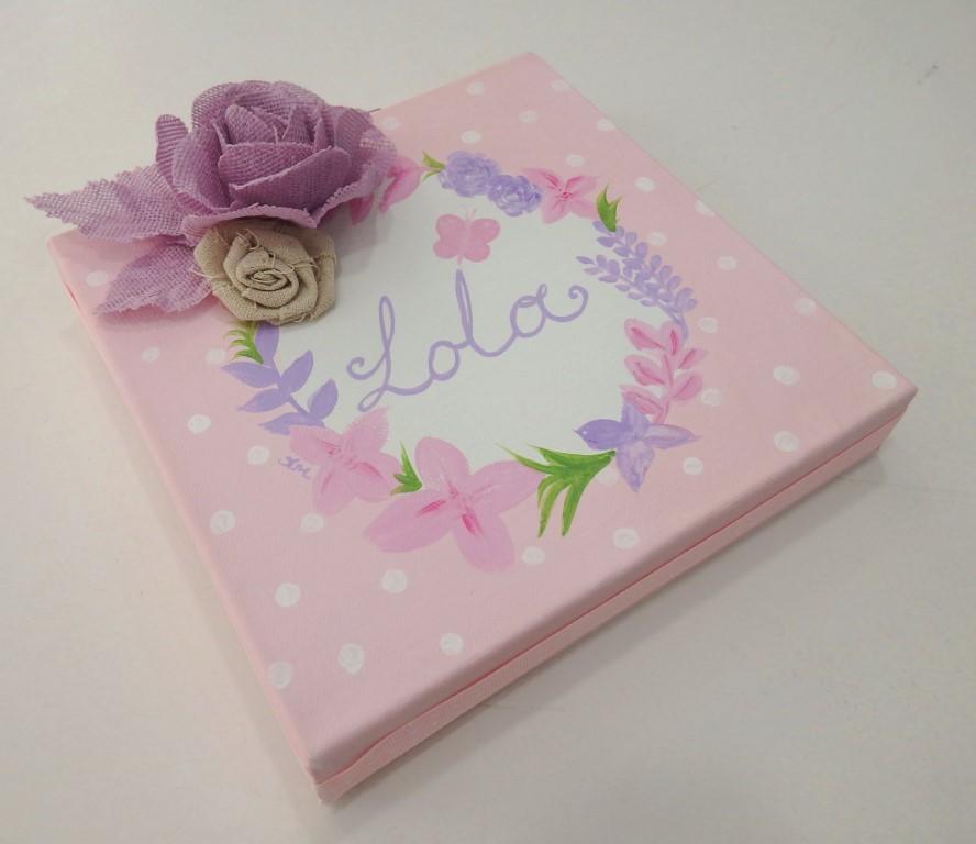 4beff495c6d Παιδικά καδράκια χειροποίητα, σε καμβά, με λουλούδια | Happyrooms