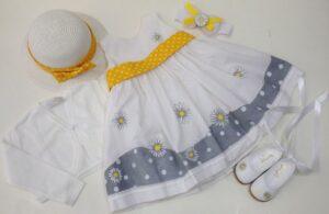 Βαπτιστικά ρούχα και παπουτσάκια μαργαρίτα - Bd098