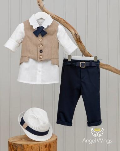 Βαπτιστικά ρούχα για αγόρι Edward 164 Μπεζ Μπλε
