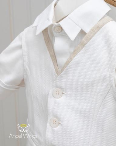 Βαπτιστικά ρούχα για αγόρι Leonard 168 Λευκό