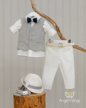 Βαπτιστικά ρούχα για αγόρι Eliot 169 Γκρι Λευκό