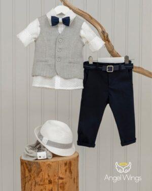 Βαπτιστικά ρούχα για αγόρι Eliot Blue 170 Γκρι Μπλε